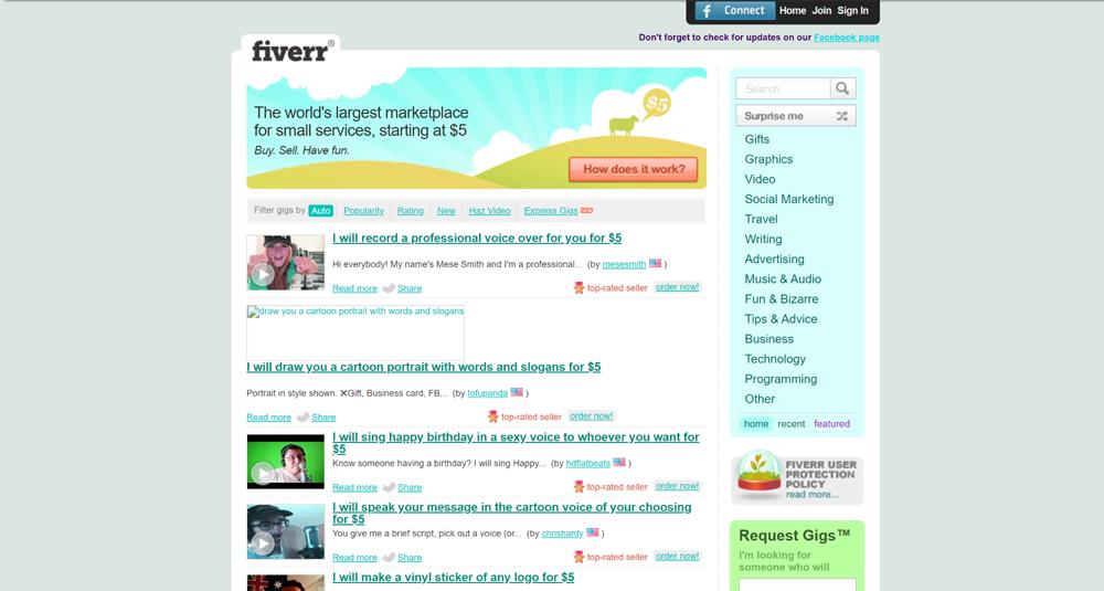 Fiverr circa 2013, courtesy of The Wayback Machine.